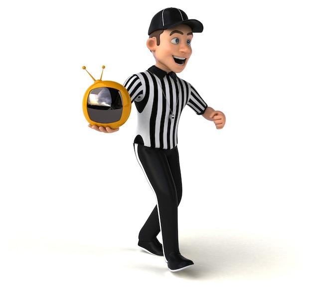 Ilustração 3d engraçada de um árbitro americano segurando uma pequena tv