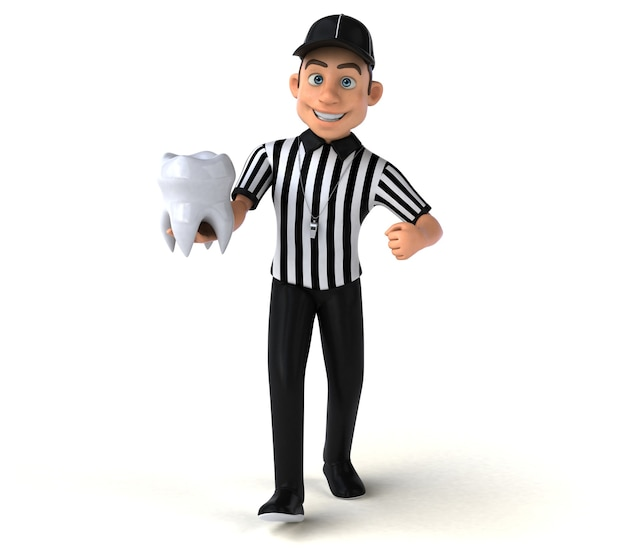 Ilustração 3d engraçada de um árbitro americano