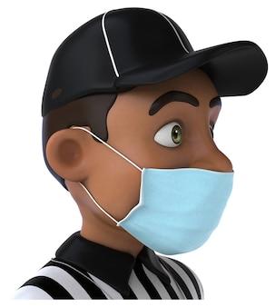 Ilustração 3d engraçada de um árbitro negro com uma máscara