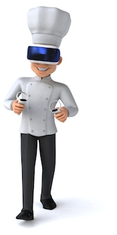 Ilustração 3d engraçada de um chef com um capacete de realidade virtual
