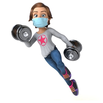 Ilustração 3d engraçada de um desenho animado adolescente com uma máscara