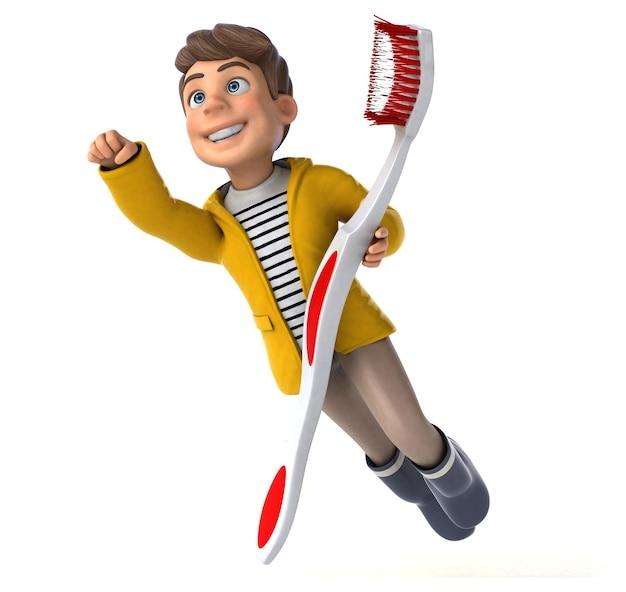 Ilustração 3d engraçada de um garoto de desenho animado com capa de chuva