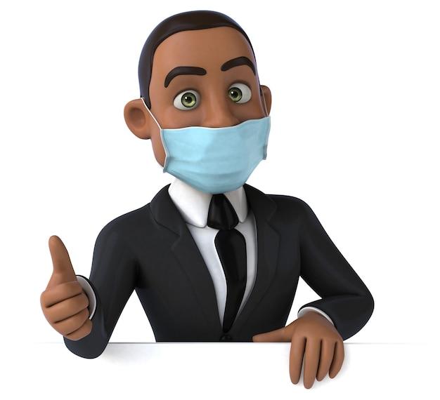 Ilustração 3d engraçada de um homem de negócios negro com uma máscara