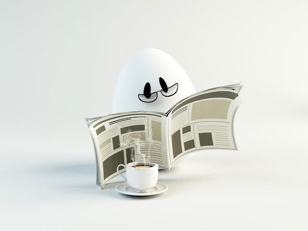 Ilustração 3d engraçada de um jornal de leitura de ovo. conceito de páscoa