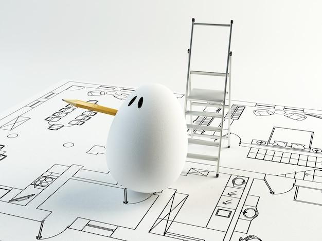 Ilustração 3d engraçada de um ovo de arquiteto. conceito de páscoa