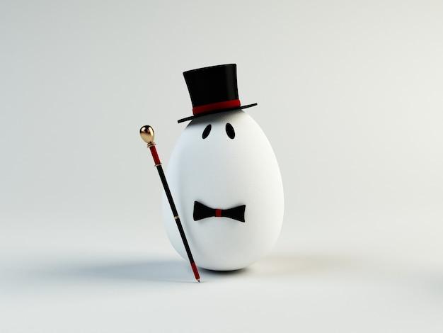 Ilustração 3d engraçada de um ovo de cavalheiro. conceito de páscoa