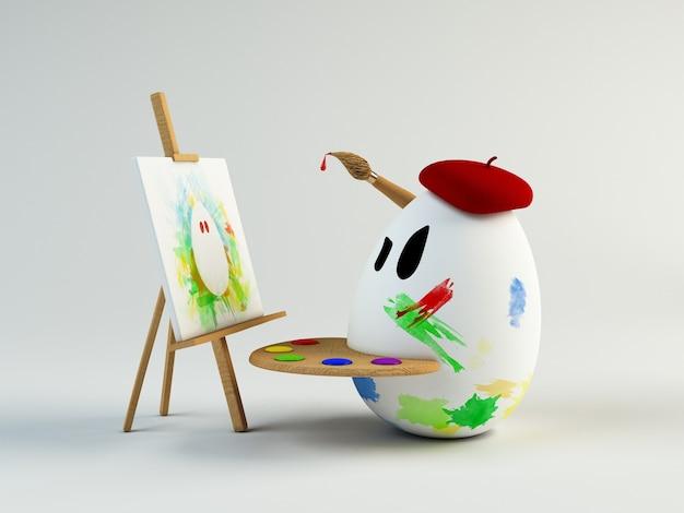 Ilustração 3d engraçada de um pintor de ovos. conceito de páscoa
