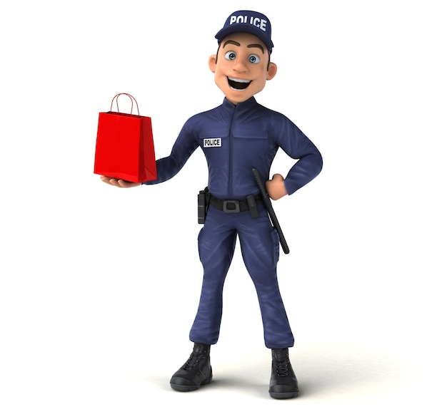 Ilustração 3d engraçada de um policial de desenho animado com uma sacola de compras vermelha