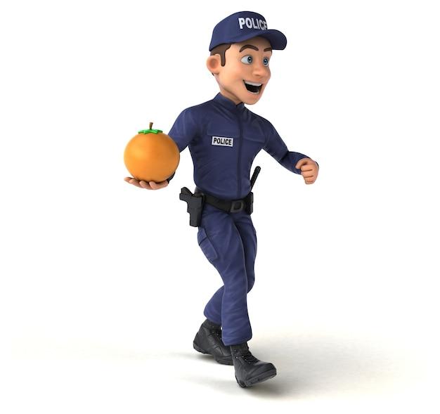 Ilustração 3d engraçada de um policial de desenho animado