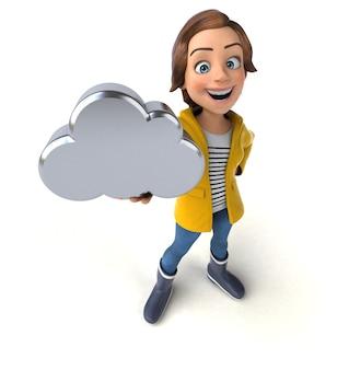 Ilustração 3d engraçada de uma adolescente de desenho animado