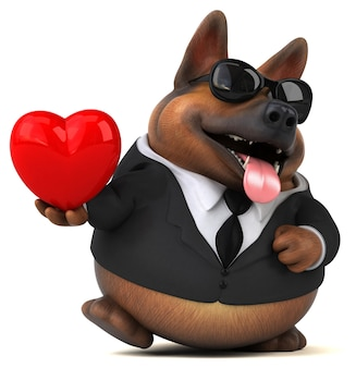 Ilustração 3d engraçada do cão pastor alemão