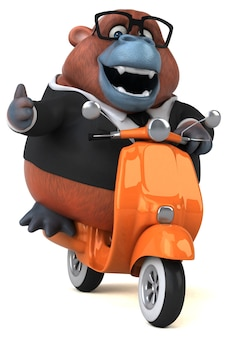 Ilustração 3d engraçada do orangotango