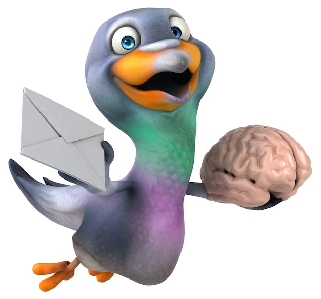 Ilustração 3d engraçada do pombo