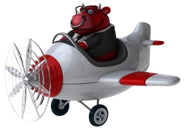 Ilustração 3d engraçada do touro vermelho