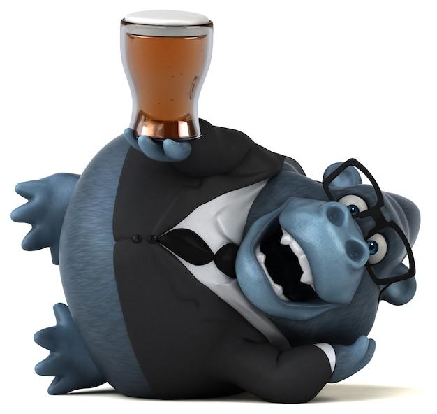Ilustração 3d engraçado do gorila