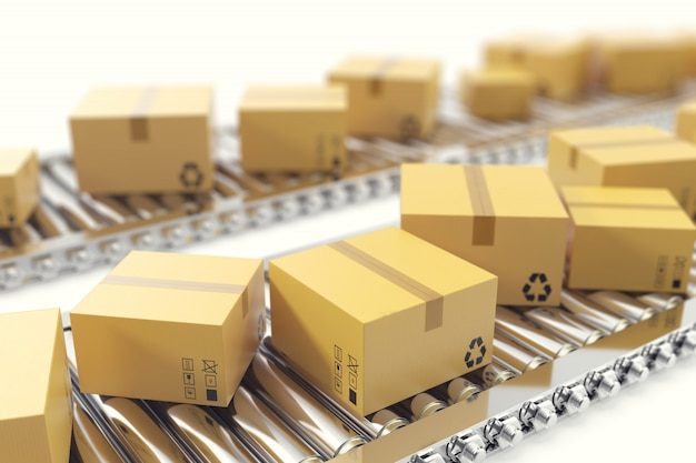 Ilustração 3d entrega de pacotes, serviço de embalagem e conceito de sistema de transporte de encomendas, caixas de papelão na correia transportadora.