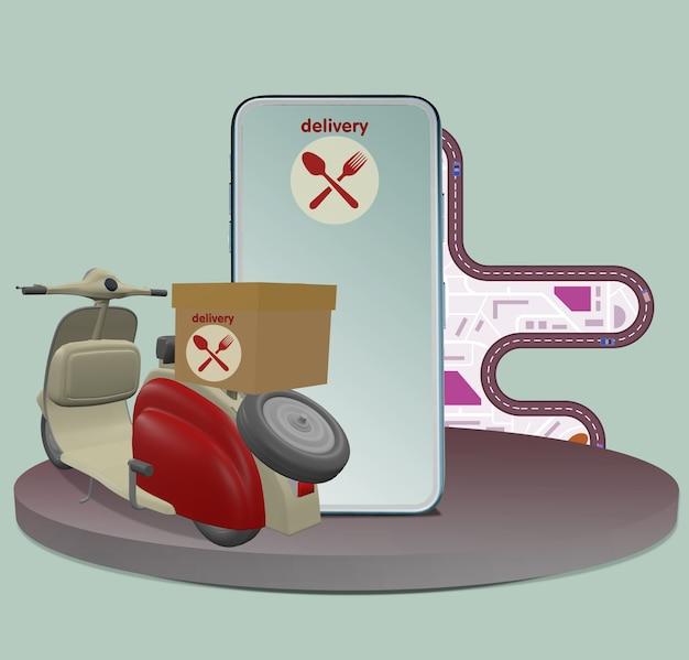 Ilustração 3d entrega rápida por scooter móvel. conceito de comércio eletrônico infográfico: pedido de comida online, serviço de entrega de comida de aplicativo página da web de design de aplicativo,