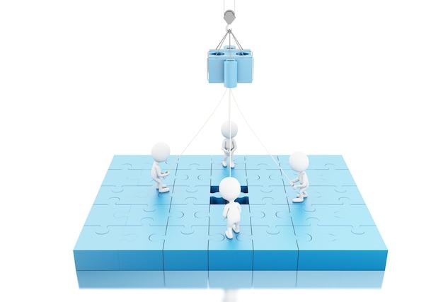 Ilustração 3d. equipe de negócios, construindo um puzzle puzzle
