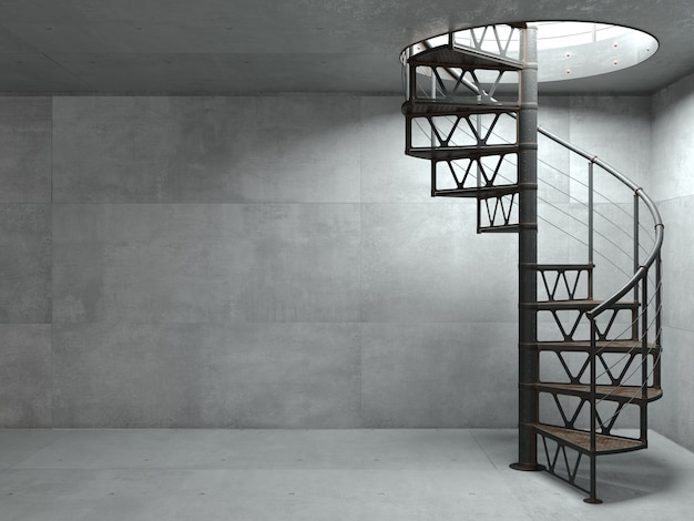 Ilustração 3d. escada em espiral metálica em estilo loft. parede de concreto no fundo