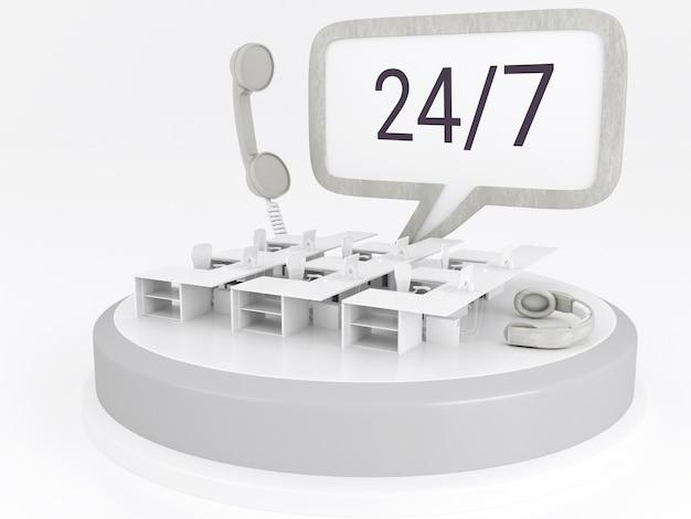 Ilustração 3d. escritório do centro de chamadas com fones de ouvido e telefone. conceito de suporte 24/7.