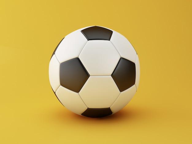 Ilustração 3d. esfera de futebol no fundo amarelo. conceito de esportes.