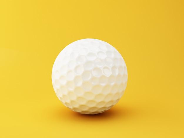 Ilustração 3d. esfera de golfe no fundo amarelo. conceito de esportes.