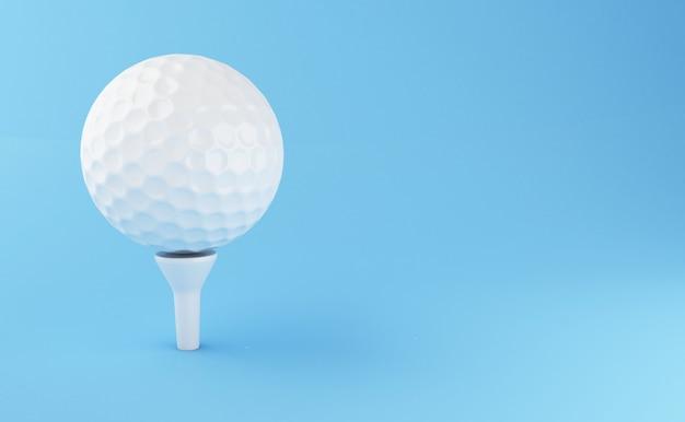 Ilustração 3d. esfera de golfe no fundo azul. conceito de esportes.