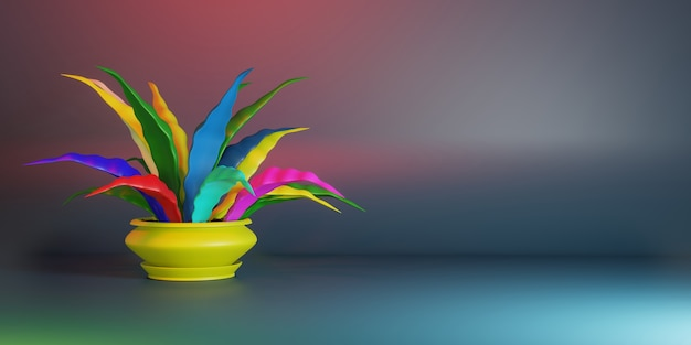 Ilustração 3d estilizada. flor em casa em uma panela com folhas coloridas. lugar para texto