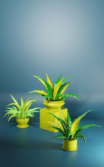 Ilustração 3d estilizada. plantas caseiras em vasos sobre um fundo azul. lugar para texto
