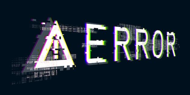 Ilustração 3d falhou sistema, ponto de exclamação símbolo de perigo do computador erros de hacking cyberpunk digital pixel design concept erros do sistema do computador danificados