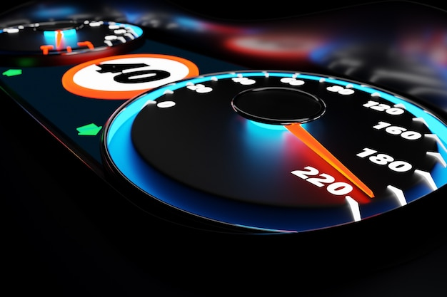 Ilustração 3d fechar o painel do carro preto, velocímetro digital brilhante no estilo esporte. o ponteiro do velocímetro mostra uma velocidade máxima de 220 km / h