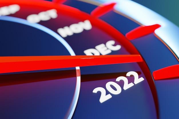 Ilustração 3d fechar velocímetro preto com pontos de corte 2021,2022 e meses do calendário. o conceito de ano novo e natal na área automotiva. contando meses, tempo até o ano novo