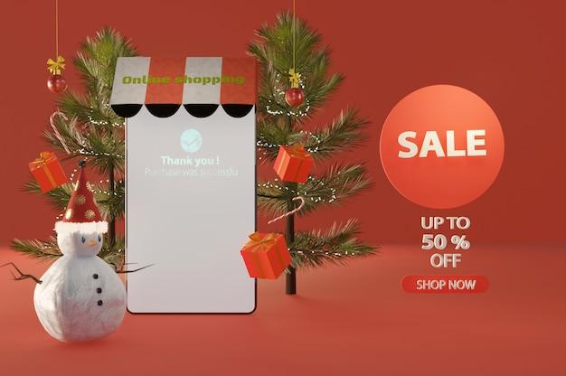 Ilustração 3d. feliz natal e feliz ano novo. compras on-line no celular