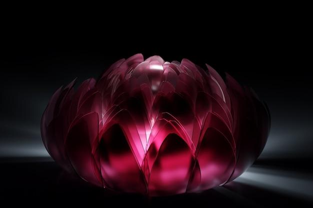 Ilustração 3d flor de vidro cor de vinho linda flor de peônia brilhando por dentro