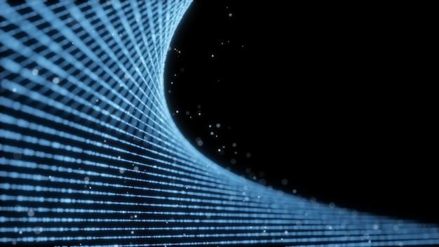 Ilustração 3d fluindo partículas com belos efeitos de luz do flash