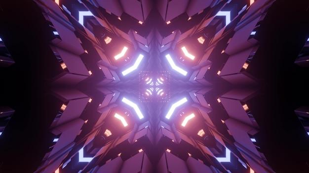 Ilustração 3d fractal de padrão simétrico abstrato com iluminação de néon brilhante e luzes roxas na escuridão