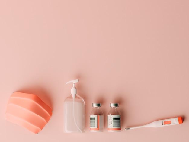 Ilustração 3d. frasco de vacina covid-19, frasco de álcool gel, máscara facial e um termômetro em fundo isolado. prevenção de surto de coronavírus. conceito covid-19.