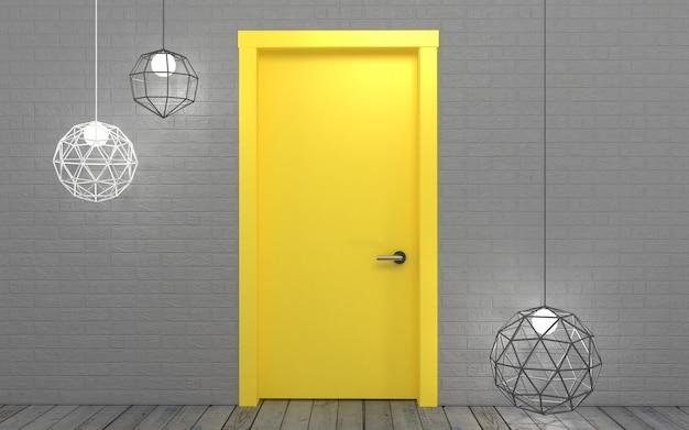 Ilustração 3d. fundo com uma porta amarela brilhante na parede no sótão