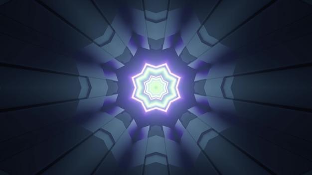 Ilustração 3d futurista abstrata com células metálicas e estrelas de néon formando um padrão geométrico de perspectiva de túnel de ficção científica