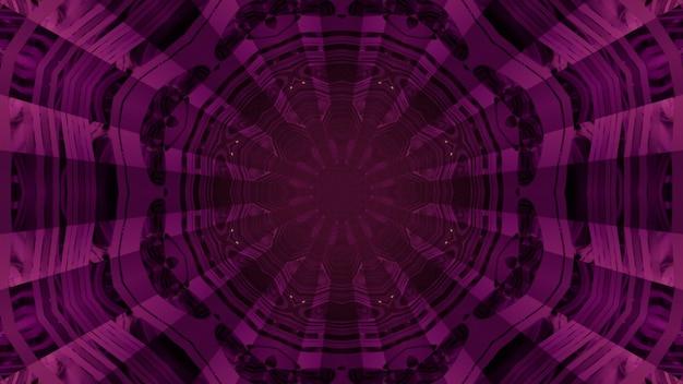 Ilustração 3d futurista de fundo visual abstrato dentro de um túnel roxo escuro com paredes refletindo vidro geométrico e orifício redondo