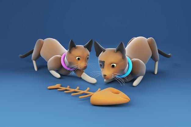 Ilustração 3d gato olhando para a espinha de peixe