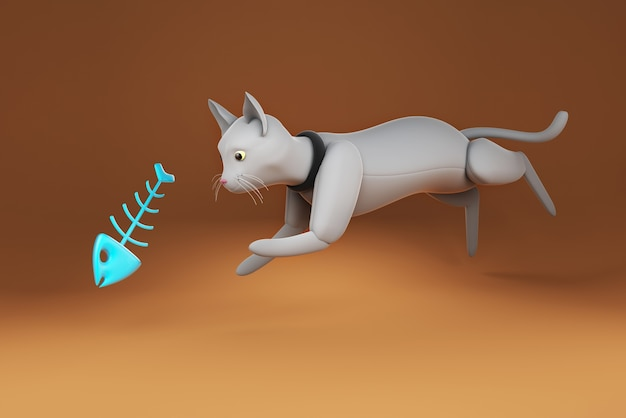 Ilustração 3d gato pulando para a espinha de peixe