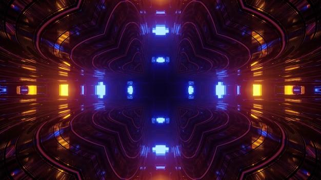 Ilustração 3d geométrica abstrata do padrão simétrico em forma de coração, formando um túnel de perspectiva no fundo de luzes azuis e amarelas