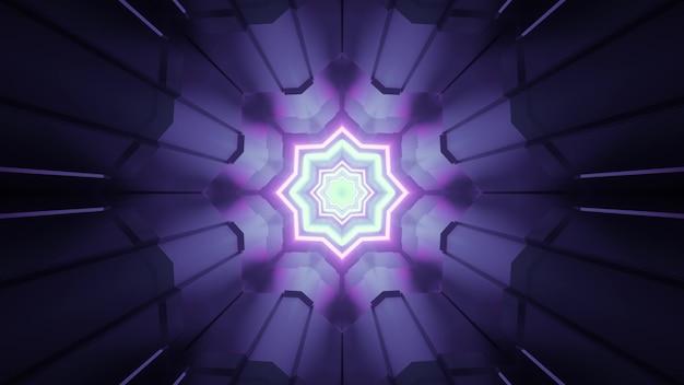Ilustração 3d geométrica abstrata do portal fantástico de ficção científica com estrela de néon brilhante iluminando colunas roxas