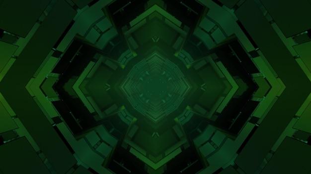 Ilustração 3d geométrica de células verdes simétricas e quadrados criando um fundo escuro abstrato