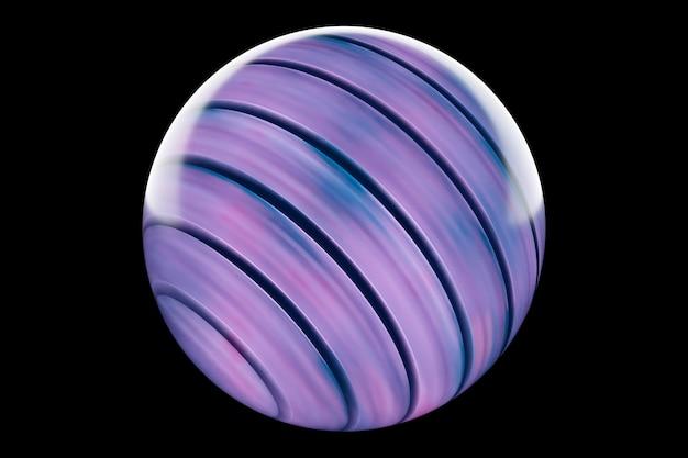 Ilustração 3d geométrica volumétrica bola azul-roxa com uma sombra no fundo preto isolado