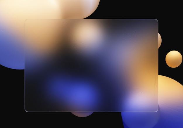 Ilustração 3d glassmorphism elemento transparente com fundo gradiente de forma líquida 3d
