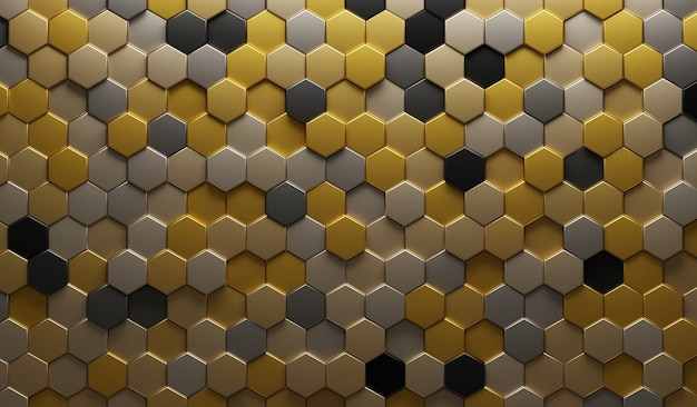 Ilustração 3d gold metalic abstract. hexágono em relevo, sombra de favo de mel