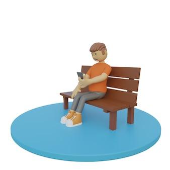 Ilustração 3d homem sentado segurando o telefone no fundo branco