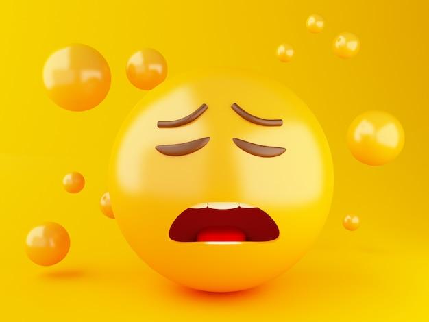 Ilustração 3d. ícones de emoji com expressões faciais. conceito de mídia social.